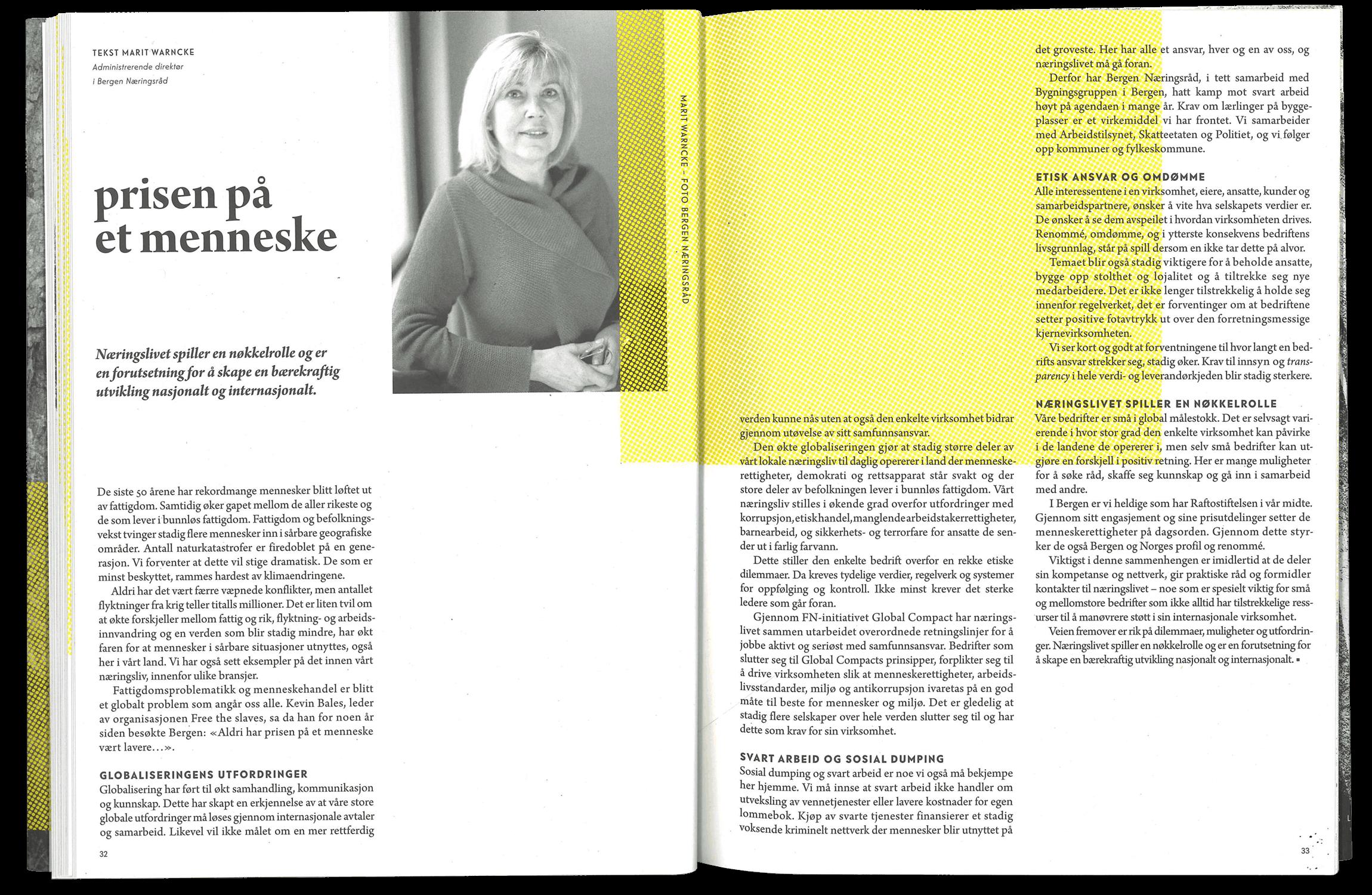 Marit Warncke from Bergen Næringsråd in magazine.