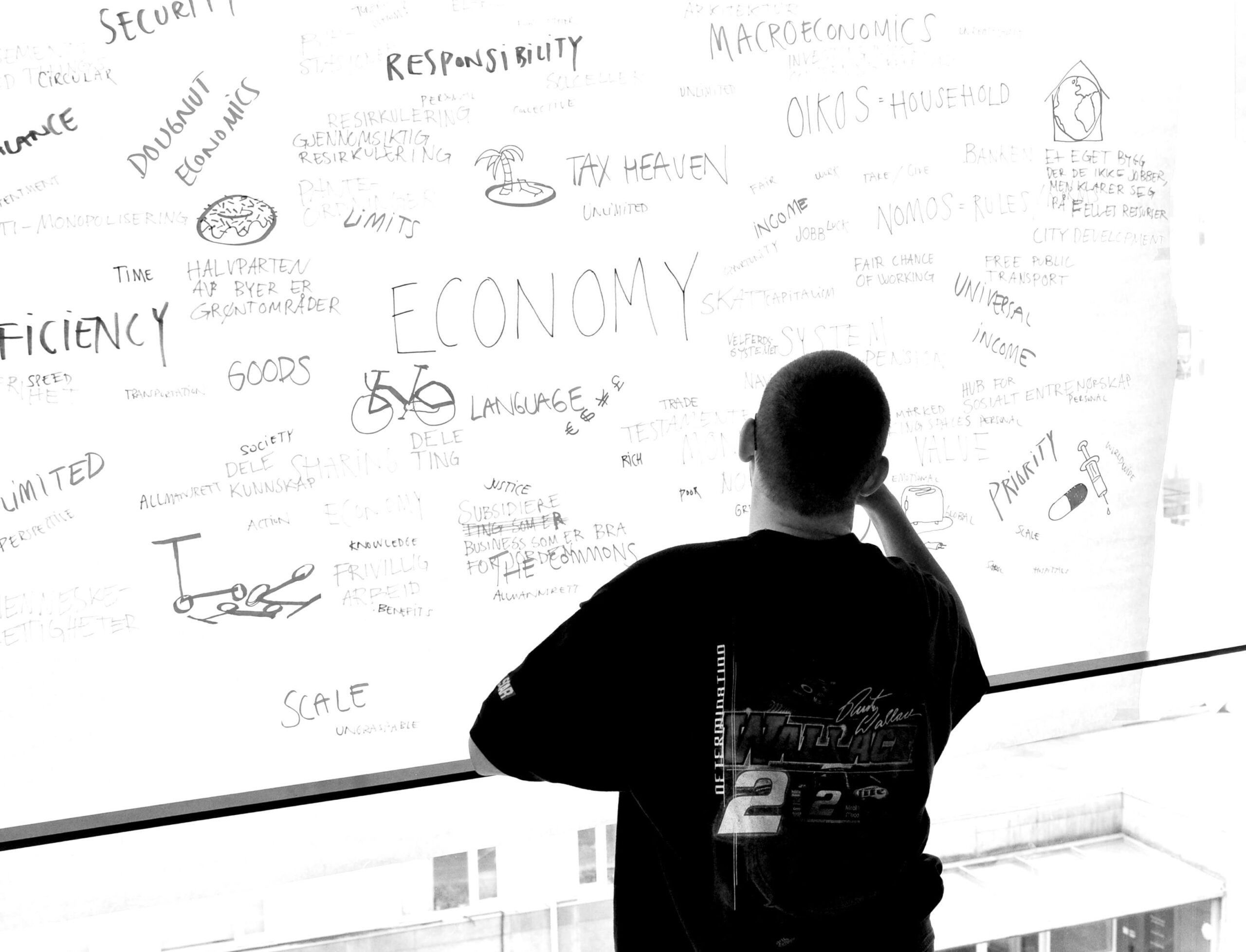Me in front of a wall with words related to economy.